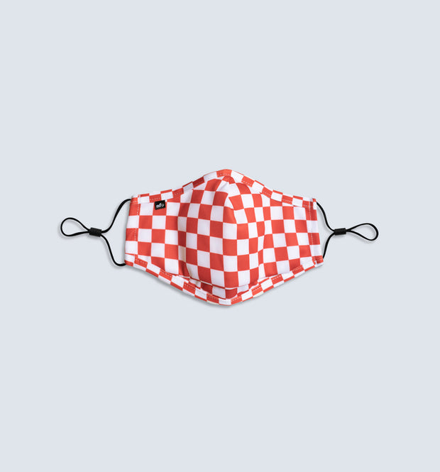 Kids Red Checkerboard Face Mask 1