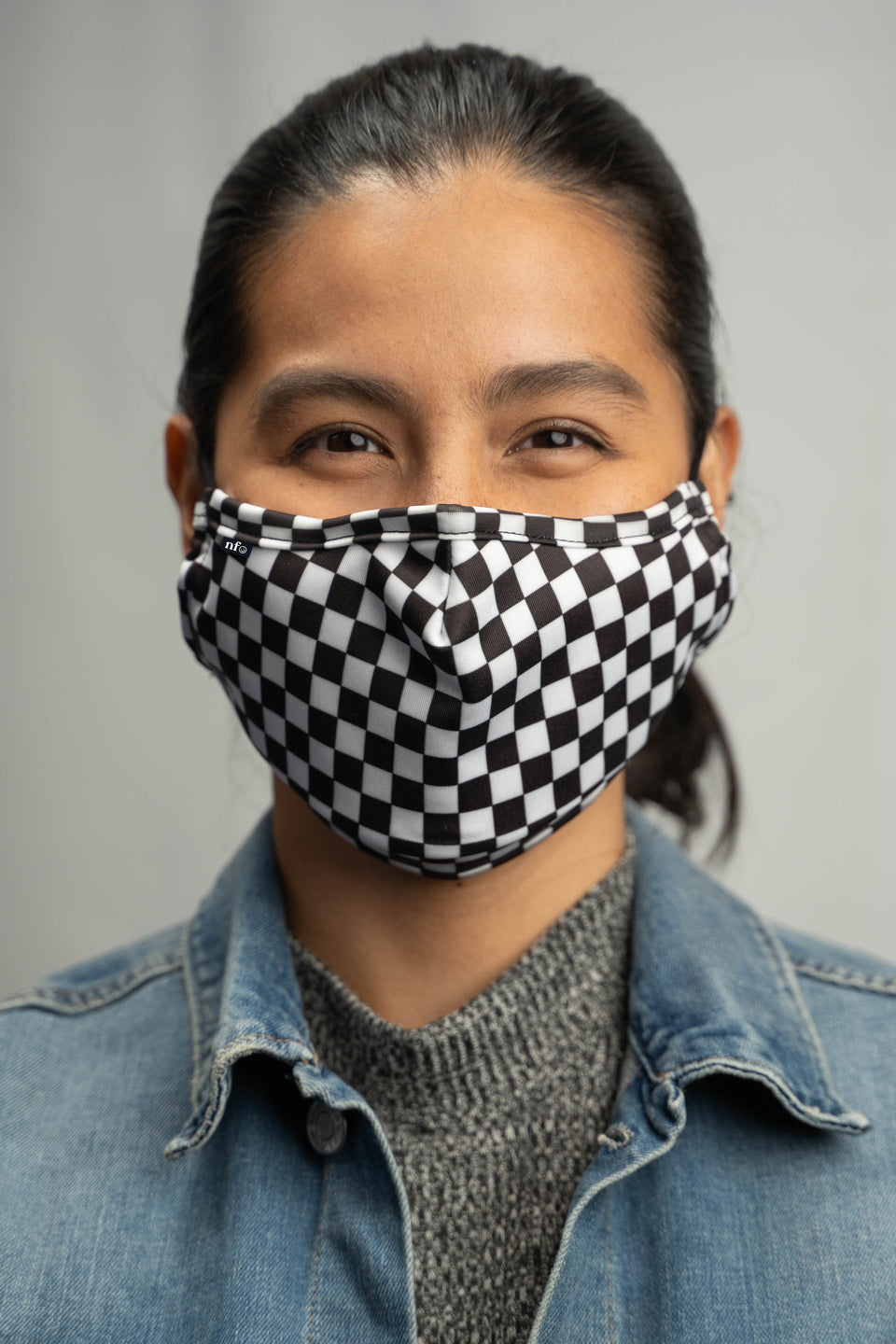 Adult Black Checkerboard Face Mask - NiiceFace