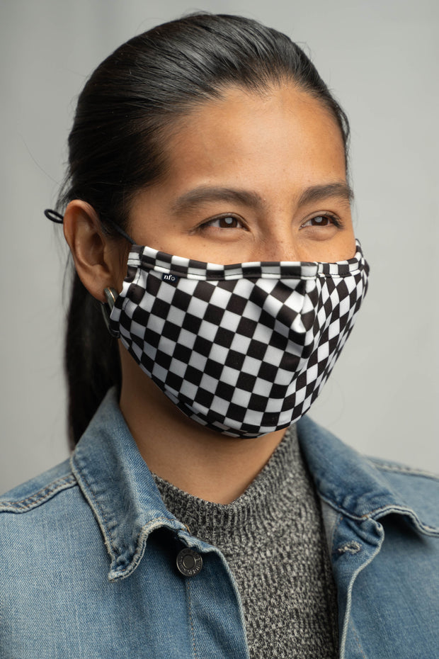 Adult Black Checkerboard Face Mask 1