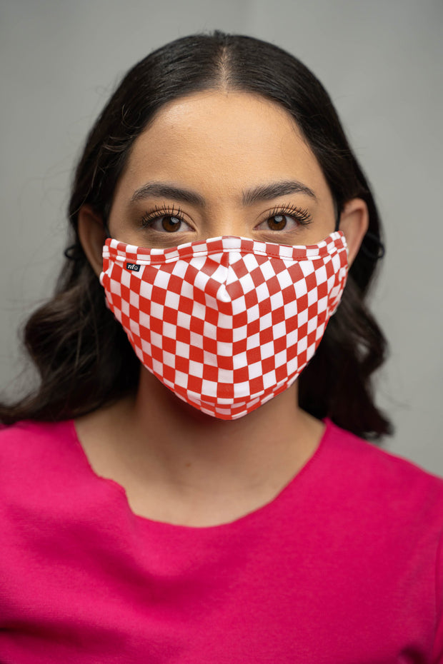 Adult Red Checkerboard Face Mask 1