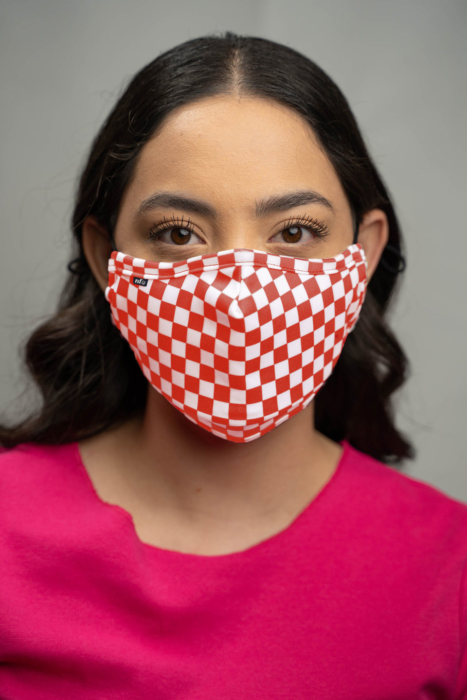 Adult Red Checkerboard Face Mask - NiiceFace