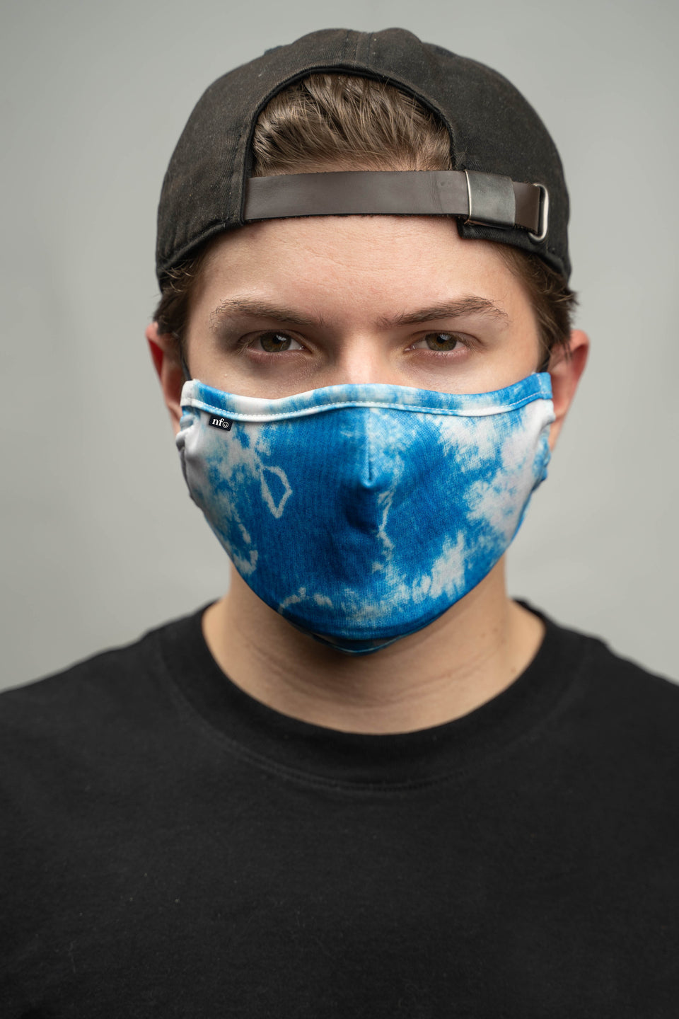 Adult Blue Tie Dye Print Face Mask - NiiceFace