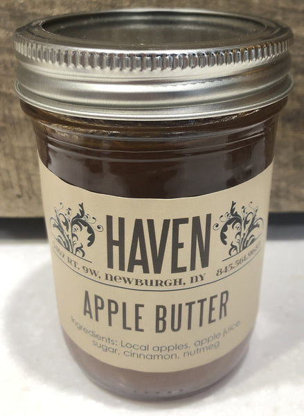 Traditional recipe for thick, delicious, spreadable apple butter, with a hint of nutmeg. Spread it on toast, or serve with a mouth watering pork chop.     8 oz. glass jar, canned and sealed.