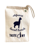 Heavy, natural canvas with rope loop handle.  Perfect for 3-5 lunch items on the go. Logo in navy blue, washable.