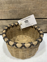 "Catch-all basket, perfect for counter tops, display, or gifting. Approximate size - 6"" w x 4"" h, round, with dark brown accent. Locally made in the Hudson Valley by master basket weaver, Mary Ann Williams."