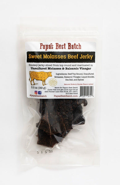 Papa's Sweet Molasses Beef Jerky starts with large slices beef top round, and then is marinated in molasses, balsamic vinegar, Liquid Smoke and Papa's secret blend of sea salt and spices.