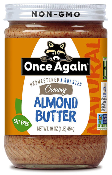 Once Again Nut Butter uses only the finest organic almonds available. They are dry roasted and milled with nothing else added to produce our delicious Natural Almond Butter. This is a gluten free product.  Ingredients: Almonds