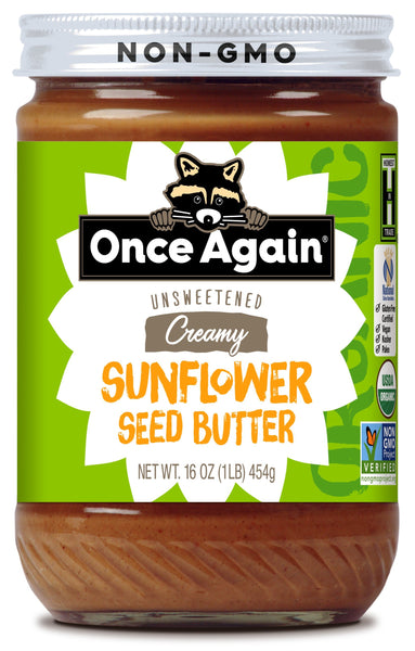 Once Again Nut Butter Sunflower Seed Butter is and made by roasting organically grown sunflower seeds. The seeds are milled smooth with sugar and salt added to create a delicious sunflower seed butter. This is a gluten free product. Ingredients: Organic Sunflower Seeds, Organic Sugar Cane and Salt. This is a certified organic product.