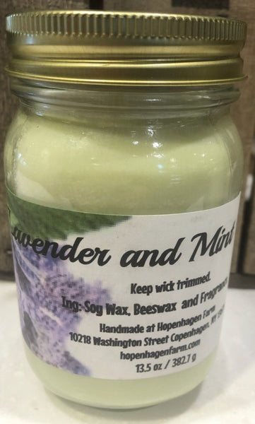 These lavender soy candles are handmade at Hopenhagen Farm in Copenhagen NY. Ingredients: Soy wax, beeswax and fragrance.   Scents: Midnight Lavender, Lavender Lemon, Lavender Chamomile, Lavender Vanilla, Lavender Mint  wt: 13.5 oz.