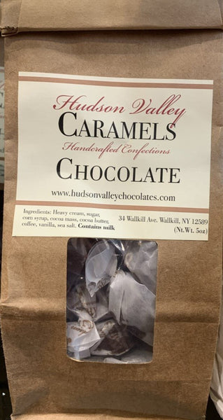 Handmade Caramels with cream from Hudson Valley Naturally favored Gluten free 5 ounce bag (approx. 17 pieces) Flavor: Chocolate.