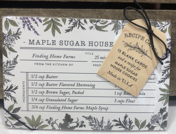 Our recipe card set includes our favorite recipe – Maple Sugar House Cookies and 15 blank cards to share your own recipes