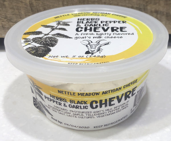Goat milk chevre infused with garlic & herbs  net wt: 5 oz.