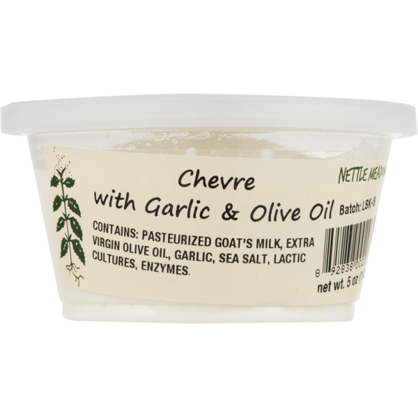 Perfect for toasted bread. Hand packed chevre with olive oil and robust garlic notes.  net wt: 5 oz.