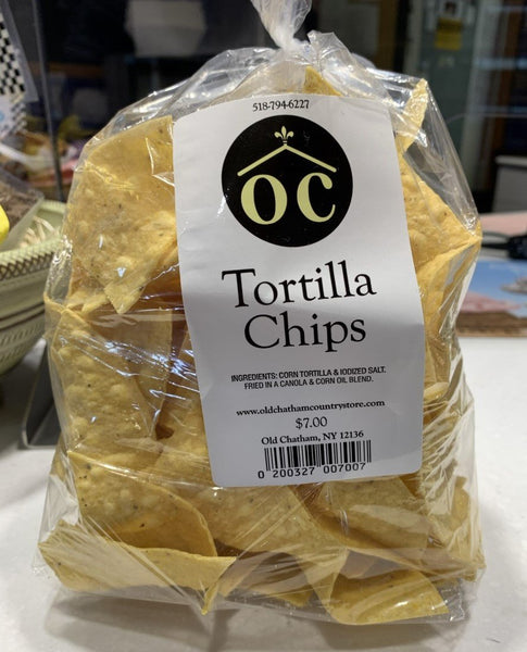 Thin and crisp tortilla chips, made fresh and lightly salted.  Pairs perfectly with Old Chatham Country Store salsa cruda!  Approximately 3.5 oz/bag