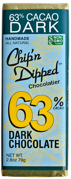 63% CACAO DARK CHOCOLATE BAR  OUR CHIP'N DIPPED™ SIGNATURE 63% CACAO DARK CHOCOLATE BARS.    Vegan Friendly   Non-GMO     ALLERGY WARNING: Our manufacturing facility uses shared equipment that handles PEANUTS, TREE NUTS, SOY, MILK, WHEAT, and EGGS. Individuals with sensitivity to any of these allergens should not consume our products.