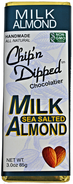 MILK CHOCOLATE SEA SALTED ALMOND BAR   Our Chip'n Dipped™ Signature creamy milk chocolate bar with sea salted almonds.     Non-GMO     ALLERGY WARNING: Our manufacturing facility uses shared equipment that handles PEANUTS, TREE NUTS, SOY, MILK, WHEAT, and EGGS. Individuals with sensitivity to any of these allergens should not consume our products.      wt. 2.8 oz.