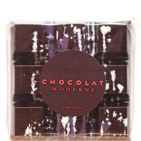 Dark chocolate bar filled with sea salted caramel finished with crystals of smoked Welsh sea salt.  Speckled with natural white and purple color for dazzling effect. Made in New York City.  Alcohol free, gluten free, wheat free.  wt. 2.5 oz.