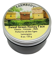 Sweet Green Honey Face is a balancing honey face mask and cleanser for acne, combination and dry skin. Activated charcoal provides just the right amount of exfoliation and deep pore cleansing while your skin is soothed with botanicals and nourished with organic honey, fresh from the farm. wt. 6 oz