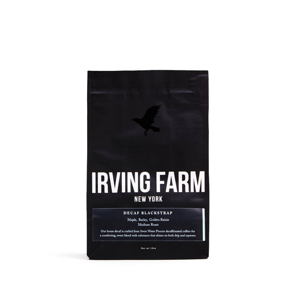 This is Irving Farm's house decaf and is crafted from Swiss Water Process decaffeinated coffees for a comforting, sweet blend with substance that shines on both drip and espresso. 12 oz/bag. Ground coffee beans.