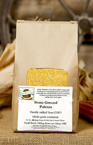 A larger grind produces a polenta that bursts with  fresh corn flavor. Stone ground in our Micro-Mill, Wild Hive Polenta is ideal for traditional Italian polenta, polenta cakes, and it can be served soft, firm, grilled or fried. Make extra, it never goes to waste. Stone ground in our Micro-Mill from Hudson Valley organic corn.. At Wild Hive Farm, they grind fresh each week, so you get the 100% of the germ and the full nutritional value and flavor from the whole grain. 1.5 #
