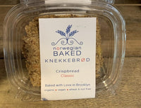 This fibrous, low-carb Crispbread is the perfect accompaniment to any meal. It's naturally wheat-free and utilizes organic whole grains like rye flour, oat bran and oats as well as organic nutrient-rich seeds such as pumpkin, sunflower, sesame and flax.  Packaged in air tight, tamper-resistant 4 oz container. A staff favorite! Made in Brooklyn, New York, and 2019 SOFI Award winner.