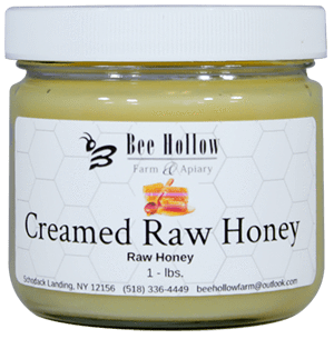 At Bee Hollow, the European method for making creamed honey is used, the honey is never heated and therefore the honey retains its raw characteristics, maintaining all the healthful benefits of raw honey. It takes 30-days to produce a batch of creamed honey using this method, but we believe quality can't be rushed.  We offer cinnamon and original (no flavor added) in glass 1# jar.