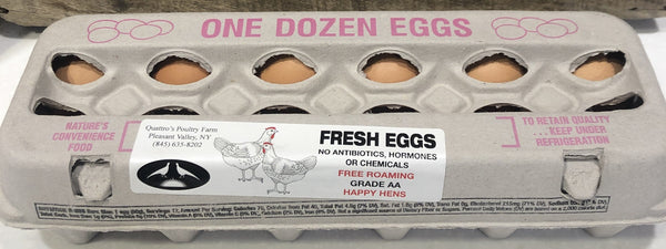 One dozen extra large brown eggs, local and fresh!  From Quattro's Store and Game Farm, Pleasant Valley, New York