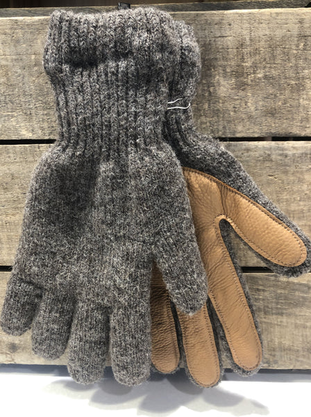 Knitted in a local mill, Longfield Farm wool gloves have super-soft acrylic liners and hand sewn bison palms to ensure warmth and durability.  This item is size large; fits large women's hand or medium/large men's hand.  The wool color is muted brown heather, and the deerskin palm is a rich tan color.  The farm is located in Altamont, New York.