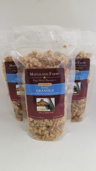 Mapleland Farms blueberry maple granola is made in small batches and then slow-roasted to bring out the natural flavors of a nutritious blend of whole grains, dried fruits, and a generous measure of our pure NYS maple syrup. Try it for a wholesome breakfast with yogurt, for a yummy desert as a topping on ice cream, or for a healthy any-time snack.   10 oz. resealable plastic package.