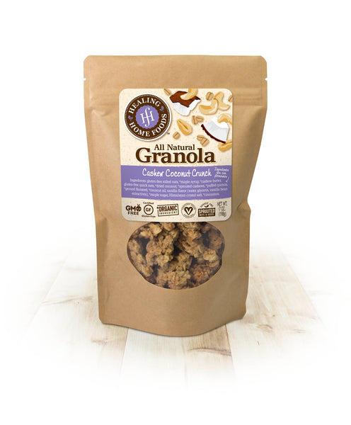 Ingredients  Gluten-free rolled oats, *maple syrup, *cashew butter, gluten-free quick oats, *dried coconut, *cashews, *puffed quinoa, *ground flaxseed, *coconut oil, vanilla flavor (water, glycerin vanilla bean extractives), *maple sugar, Himalayan crystal salt, *cinnamon.  *Organic