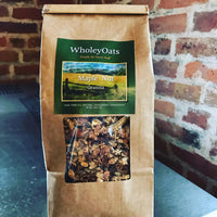 Wholey Oats brings you a delicious combination of non-gmo whole grain oats, organic oat bran, organic flaxseed meal, raw sunflower seeds, raw pepitas, raw almonds, raw walnuts all mixed with a little bit of unsweetened fresh pressed apple juice & pure organic maple syrup to give this granola a slight crunch and flavor.  Low in sugar and fat, enjoy :)  16 oz package.