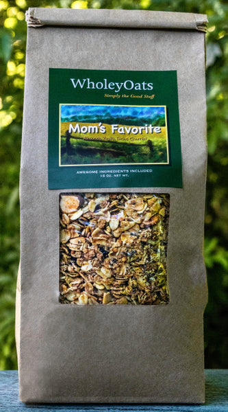 Indisputably satisfying - this is a blend of Non-gmo whole grain oats, organic flaxseed meal, organic oat bran, organic chia seeds, raw pepitas, sliced almonds, organic extra virgin coconut oil, organic pure maple syrup, pure vanilla extra, dried tart cherries, and a touch of sea salt  A staff favorite.......full of flavor but not fat or sugar.       16 oz. package.