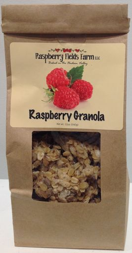 Raspberry Granola is baked in small batches, and hand packed in our Granolary located on the property of our circa 1869 homestead.  We use simple ingredients and bake to an opulent taste experience:  Whole rolled oats, crisp rice, whole dried raspberries, flax seeds, sunflower seeds, coconut, walnuts, honey, flour, sugar, canola oil, cinnamon.  Enjoy   stirred into your favorite yogurt with milk over ice cream tossed into your salad 12 oz. package