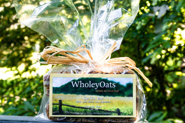 Non-gmo certified gluten-free oats, almond meal, organic extra virgin coconut oil, raw honey, whole raw almonds, organic bing cherries, dark chocolate, organic coconut sugar, pure vanilla extract   1 bar per package.  Made by Wholey Oats in the Hudson Valley.