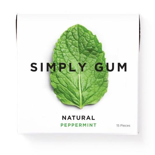 Refreshing and subtly sweet, our natural Peppermint chewing gum is simply delicious. We've been told that it's an on-the-go essential, perfect to grab before a meeting, after lunch, or when you need a little kick.  Non GMO Certified, Vegan Certified, Kosher Certified, Aspartame Free, Xylitol Free, Dairy Free, Gluten Free, Nut Free, and Soy Free.     1 pack of gum.