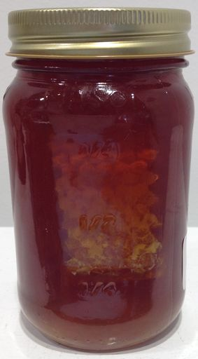 Honey and honeycomb in one jar!  Harvested in the Hudson Valley.    24 ounces of rich honey in glass jar with lid.