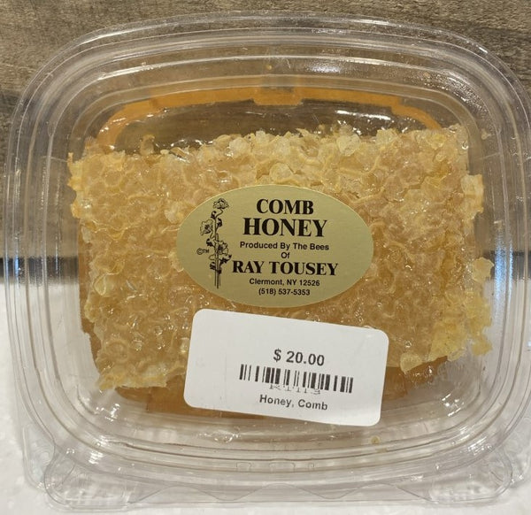 Tousey's honey comes from the hives placed on farms in Dutchess and Columbia counties.  The comb is collected and sold in a sizable piece in a resealable plastic container, approximately 10 oz./unit.