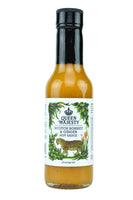 HEAT LEVEL = HOT  ** WInner of Screaming Mimi's Gold Medal 2015 in the All Natural category at the NYC Hot Sauce Expo **  INGREDIENTS: White vinegar, sweet onions, orange bell peppers, scotch bonnet hot peppers, lemon juice, ginger root, garlic, olive oil, salt and spices.   5 oz. glass bottle with tamper resistant wrapping.