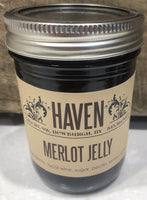 This wine jelly is a lovely addition to savory cheese boards or any other plate.    8 oz. jar canned and sealed.