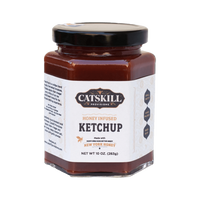 Our ketchup is sweetened with only a slight amount of honey. No sugar, corn syrup or high fructose corn syrup is added. We don't use preservatives so the sodium level is low, naturally. The flavor is perfection!      10 oz. hexagonal glass jar