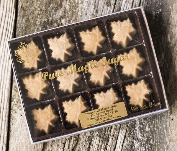 Melt on your tongue - pure maple syrup heated and stirred into soft maple sugar candies. A terrific car snack, gift, or energy boost for your long hikes or bike rides on scenic mountain roads or trails.  No other added ingredients.  This box contains (12) small maple candies, 4 oz.
