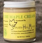 A light, whipped, natural way to enjoy pure maple flavor.  Maple Cream can be spread on toast, bagels, fresh rolls, English muffins, or used as a frosting on a cake.  Maple syrup heated, cooled and whipped. No other added ingredients.   8 oz. glass jar.