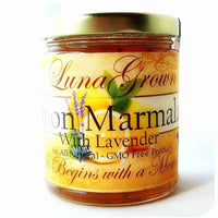 LunaGrown Lemon Marmalade with Lavender is a delicate experience for your palate. We create our traditional Lemon Marmalade, infuse Organic Culinary Lavender and a kiss of vanilla. This brings your senses an additional treat on warm summer days.     10 oz glass jar.