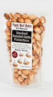 Roasted Garlic Smoked Pistachios are marinated in lots of fresh garlic, cider vinegar and just a touch of sea salt. Then they spend six hours in the smoker, roasting the pistachios and garlic to deliciousness Gluten Free, Non GMO, All Natural.  8 oz