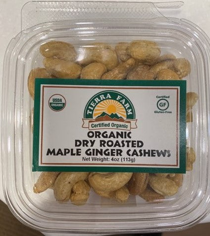 Organic Dry Roasted Cashews, Organic Maple Syrup, Organic Ginger Powder, Sea Salt.  Contains Cashew. May contain shell fragments. Processed in a facility that handles tree nuts, soy and milk. Certified Organic, Gluten-Free, Kosher Pareve