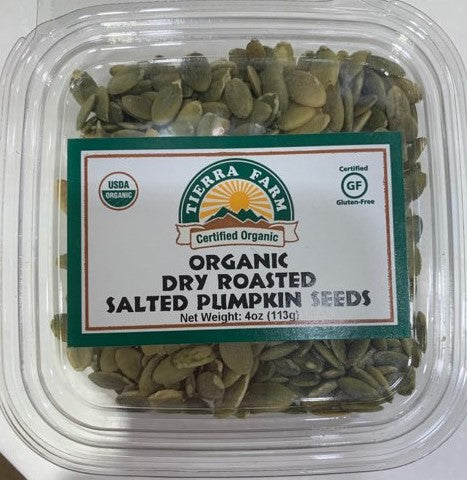 Tierra Farm takes pride in roasting the finest, certified-organic seeds in the business with their handcrafting and slow-roasting techniques. These premium, double-A shine skin pumpkin seeds from China and coat them in the purest quality sea salt in the world, making a product that is great for snacking or adding to your favorite salad or trail mix. These seeds are high in protein, phosphorus, and iron.  4 oz plastic container