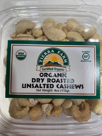 Organic Dry Roasted Cashews   Contains Cashew. May contain shell fragments. Processed in a facility that handles tree nuts, soy and milk. Certified Organic, Gluten-Free, Kosher Pareve
