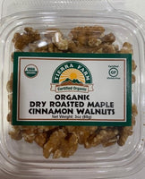 Organic Dry Roasted Walnuts, Organic Maple Syrup, Organic Cinnamon.  Contains Walnut. Processed in a facility that handles tree nuts, soy and milk. Certified Organic, Gluten-Free, Kosher Pareve