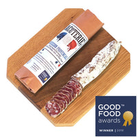 2016 Good Food Award Winner, our Saucisson Provençal is inspired by the floral scents and flavors of Provence, France. We custom blend our own Herbs de Provence using rosemary, thyme, basil and fennel and locally grown lavender. A careful addition of garlic and black pepper along with the herbs makes the Saucisson Provençal is our Most popular salami!  wt. 5 oz