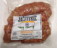 A JACüTERIE creation is, infuse as the classic British Bangers with the finest Bombay curry powder for a delightful kick. A delicious replacement for any recipe with British Bangers, or just grilled on it's own.